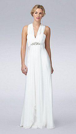 Ivory embellished Grecian wedding dress http://www.weddingheart.co.uk/debenhams---wedding-dresses.html