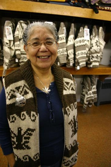 Emily Sawyer-Smith, pictured here in 2009, is a respected knitter of Cowichan sweaters. The sweater was recognized by the federal government on March 22, 2012.