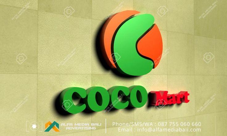Huruf timbul galvanis Coco Mart di bali | Alfa Media Bali