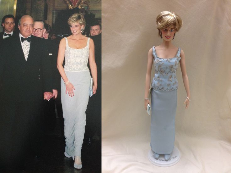 This is a custom replica of a pale blue dress by designer, Catherine Walker. Diana wore this dress for a dinner at Harrods in London to raise funds for heart research. Dress by Sweet Creations #Franklin Mint dolls #Princess Diana dolls