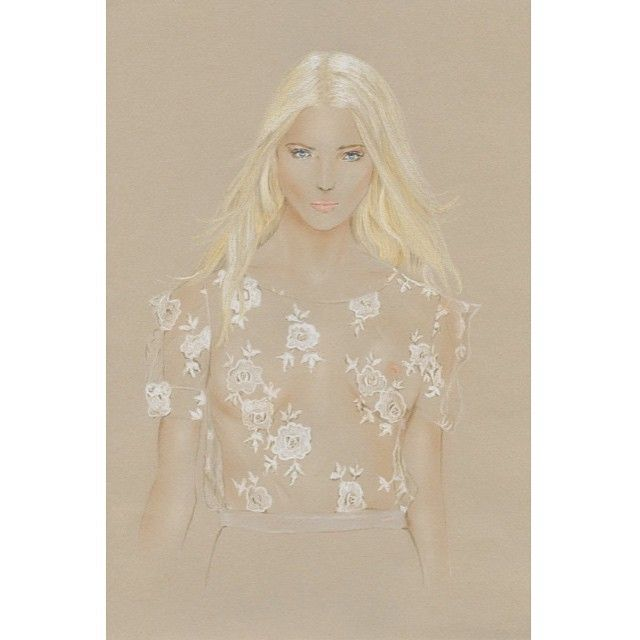 Fashion and model illustration by Marta Jeanette #sashaluss #blumarine #whitepastels #lacedrawing #seethrough