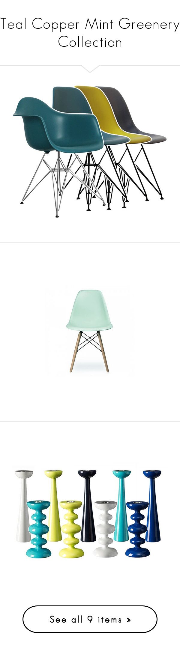 Teal Copper Mint Greenery Collection by cielshopinteriors on Polyvore featuring polyvore, interior, interiors, interior design, home, home decor, interior decorating, Ciel, Anja, CALLIGARIS, Kate Spade, Bloomingville, Art Addiction, Holly's House, Allstate Floral, springflorals, furniture, chairs, eames style chair, eames inspired chair, ciel, colored furniture, colored chairs, dining chairs, spring chair, pastel furniture, colored dining chairs, candles & candleholders, handmade home decor…