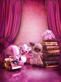 Quarto cor-de-rosa com brinquedos e livros Imagens de Stock