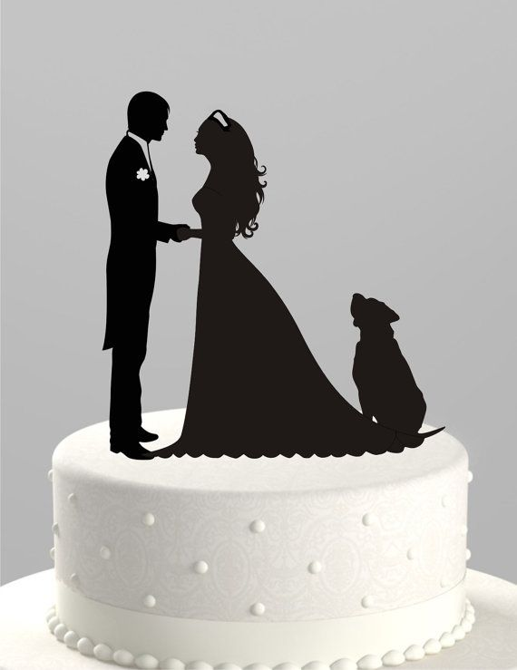 Wedding Cake Topper Silhouette Groom And Bride With Dog
