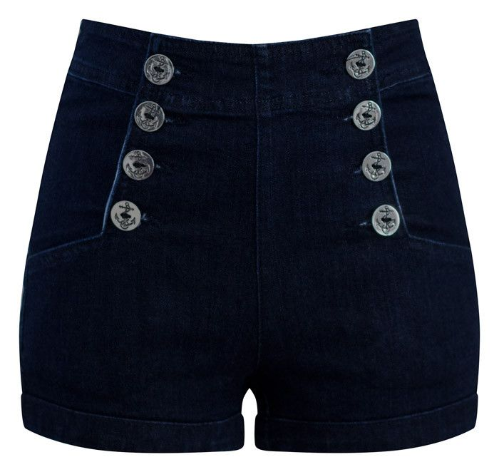 High Waist Sailor Girl Denim Shorts with Anchor Buttons