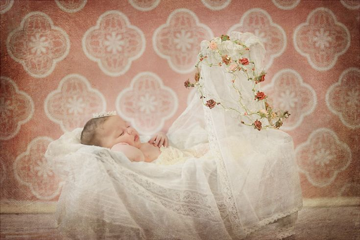 fairytale, sleepingbeauty, princess, bed, roses, red, white, newborn, girl
