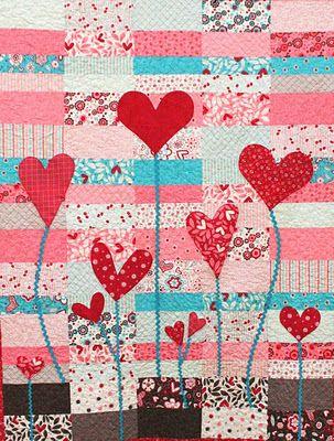 Heart Garden quilt tutorial -love to do in fuschias, teals, purples . . .