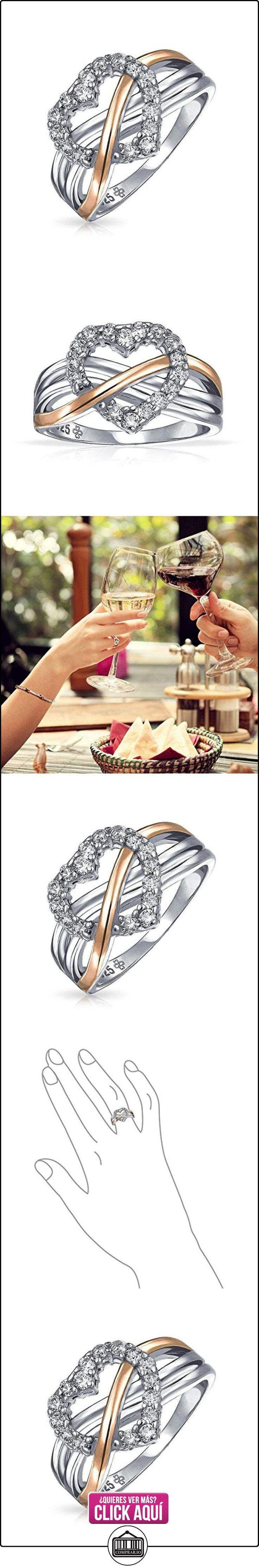 Bling Jewelry Plata Esterlina CZ Corazón Allanar Anillo de Oro Vermeil Acentos  ✿ Joyas para mujer - Las mejores ofertas ✿ ▬► Ver oferta: https://comprar.io/goto/B0041P6Y82