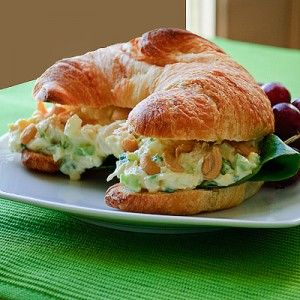 Simple chicken salad croissant sandwiches... minutes the cashews