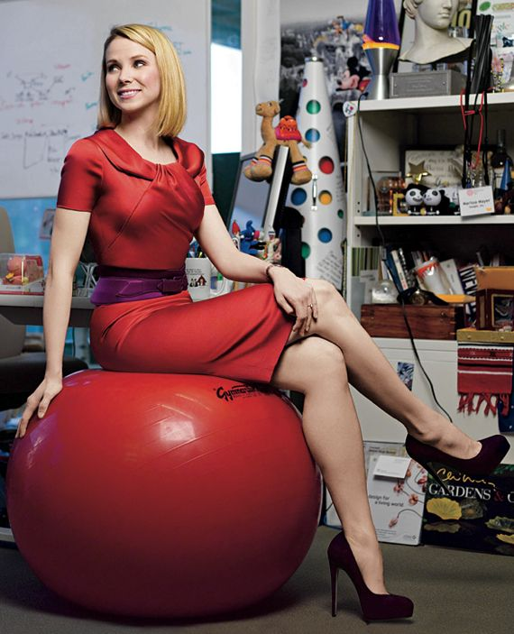 Yahoo CEO/Pres. Marissa Mayer since 2012-07-16 • was Google's key spokesperson (engineer / designer / product mgr / exec in 9 dept. from Search to Gmail) • at Google 1999 for 13 years • net worth $300M! • salary @y $117M for 5 yrs. •  board mbr: Y + Walmart + Jawbone • avid cultural fan • On Most Powerful Women lists in Forbes (32 in 2013) + Fortune (14 in 2012) • This Brigitte Lacombe photo made her the famous sexy Woman in Red tech exec. Apple/Y/Msft jointly now battling Google!