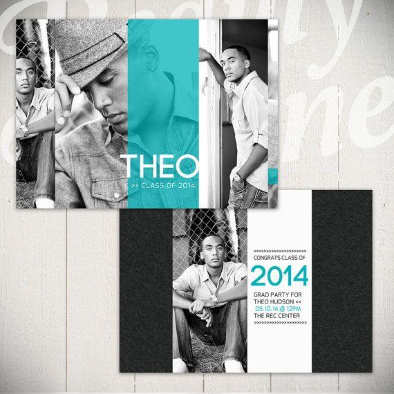 Senior Announcement Card Template: Hall of Fame C - 5x7 Graduation Card Template