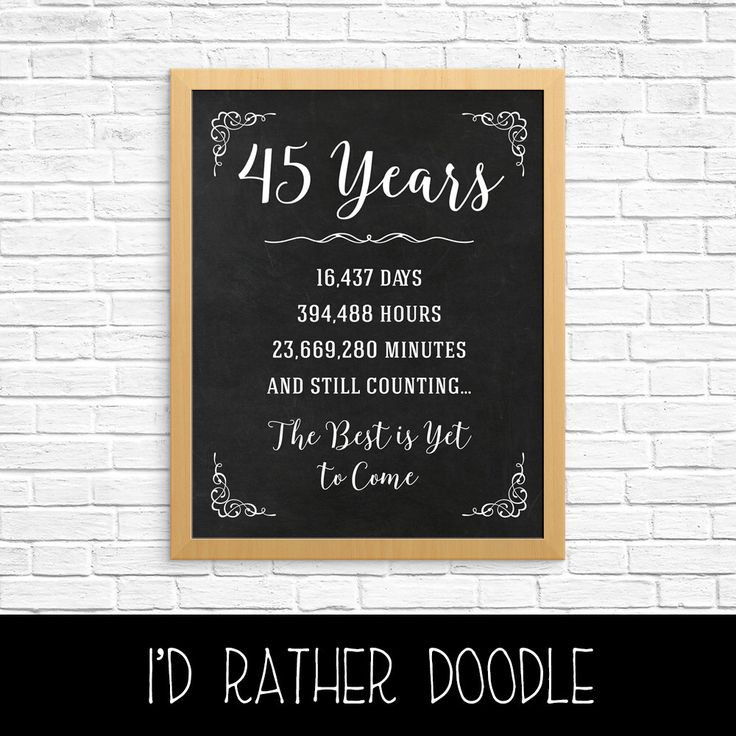 45th Anniversary Gift - 45th Year Wedding Anniversary - 45th Anniversary Sign - Anniversary Chalkboard - Anniversary Numbers Stats by IdRatherDoodle on Etsy https://www.etsy.com/listing/399660139/45th-anniversary-gift-45th-year-wedding