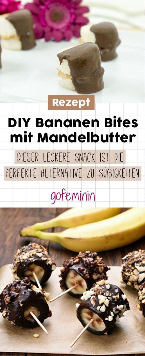 Sooo lecker: Diese DIY Bananen Bites mit Mandelbutter sind der ideale Snack für zwischendurch