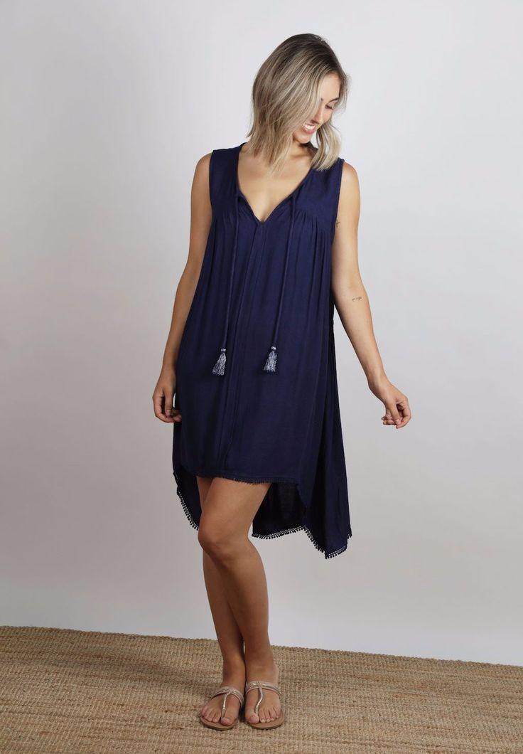 Ellis & Dewey - Navy Drawcord Waist Dress (Restocked)