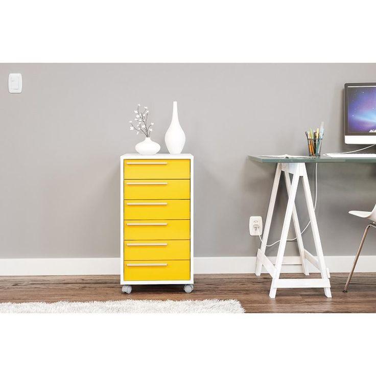 Gaveteiro com 6 gavetas amarelo e branco lindo para escritório :)