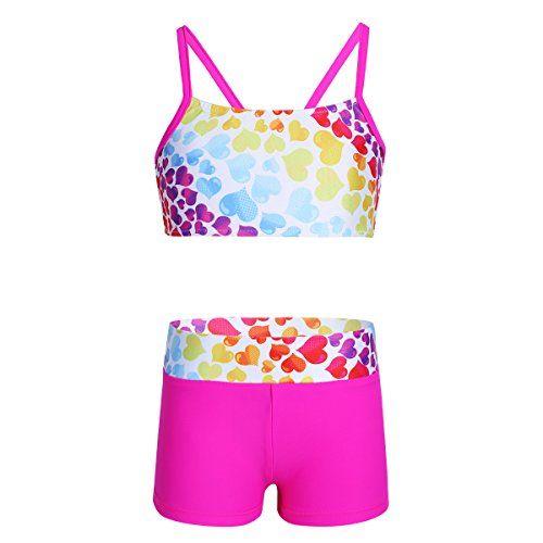 FEESHOW Kids Girls Active wear Sports Bra Crop Top with Leggings Gymnastics Dance Outfit 2 Piece Set