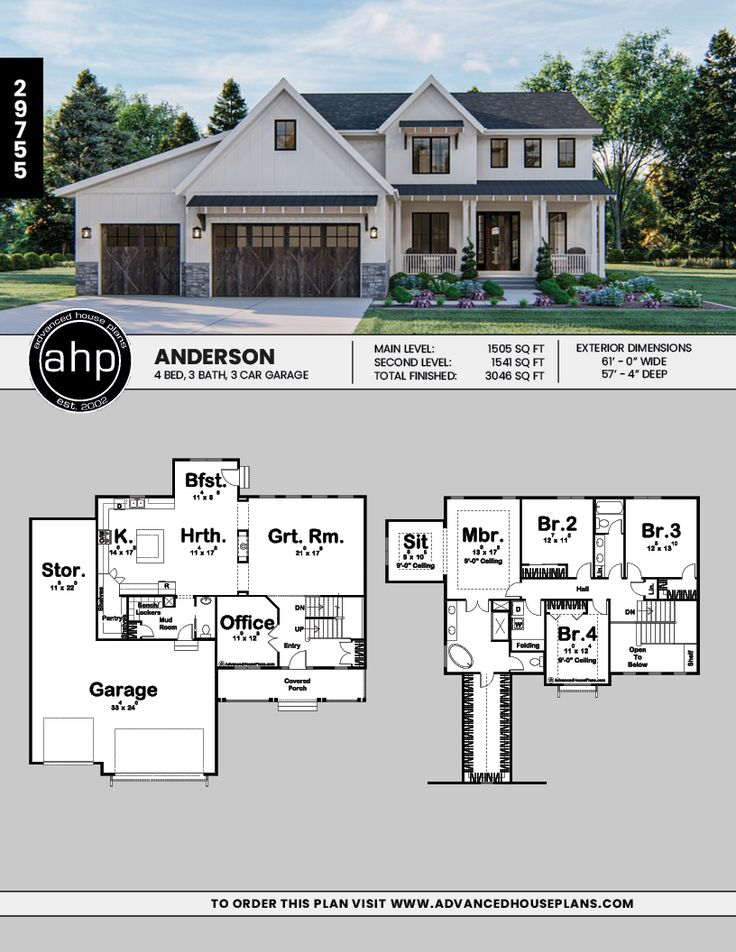 Anderson 2 Story Modern Farmhouse House Plan in 2020