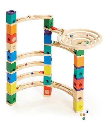 German made wooden Xcellerator Marble Run Set by Hape Toys. $50 off retail price. Learn about speed and gravity through play. #Montessori discounted toys.