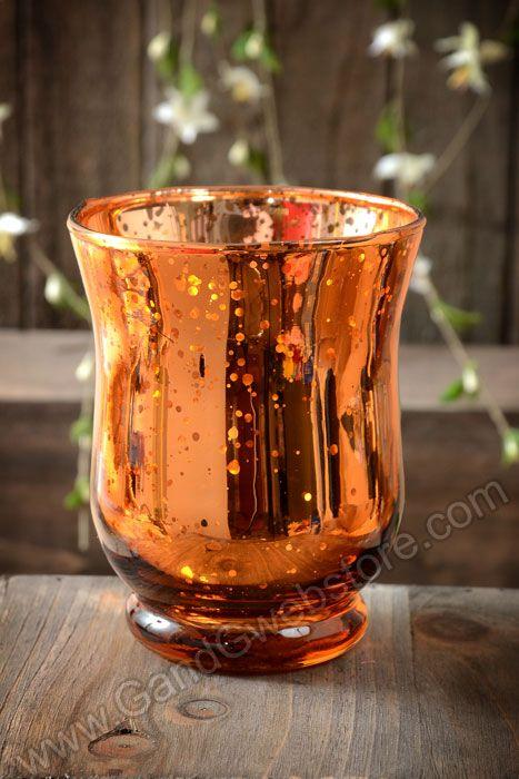 "4"" MERCURY GLASS CANDLE HOLDER AMBER - GandGwebStore.com"