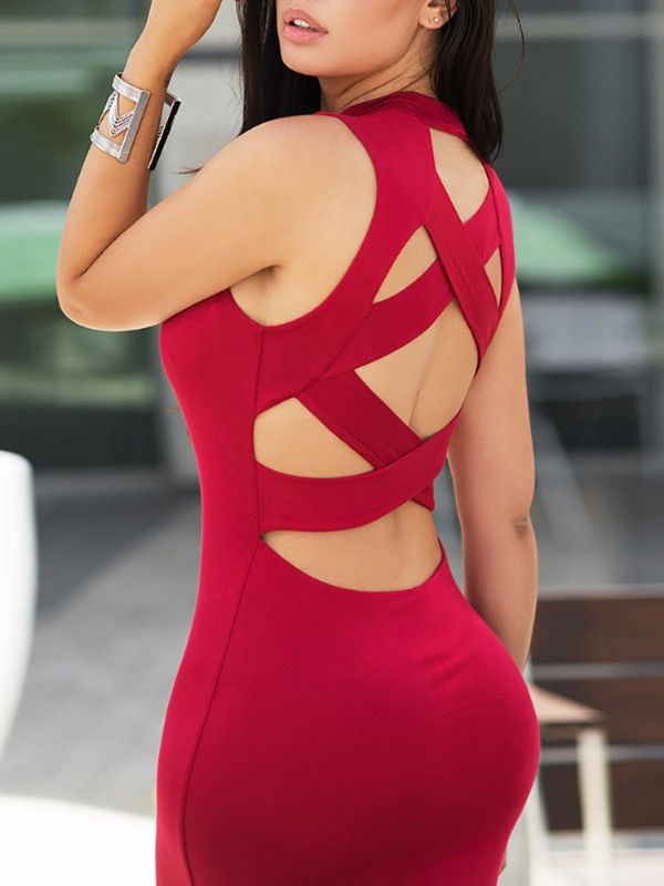 Elle bandage cut out panelled bodycon dress