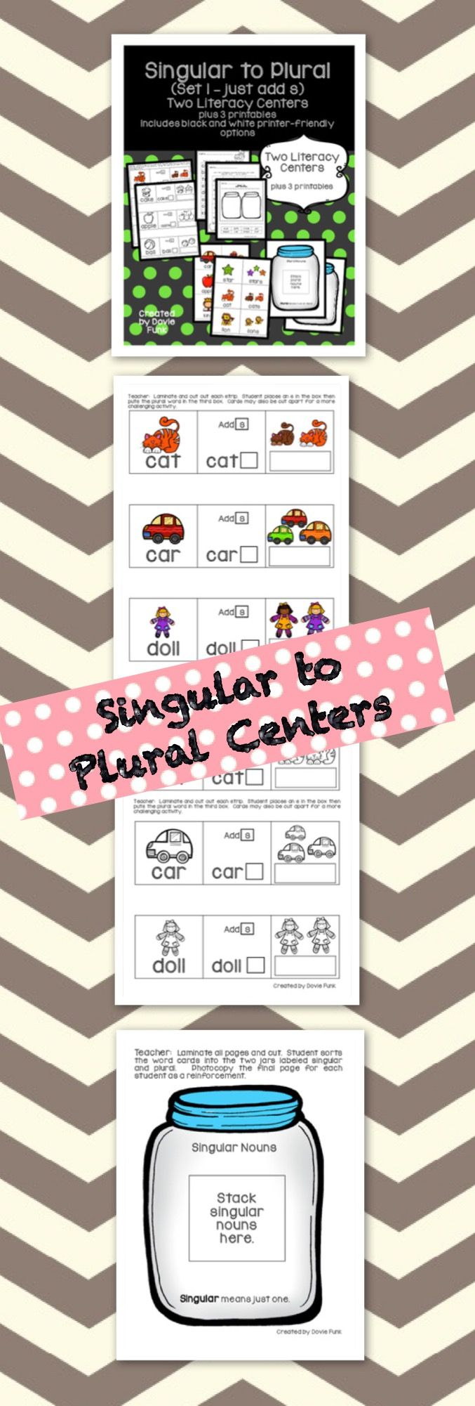 Students can change words from singular to plural with these two Literacy centers and printables!