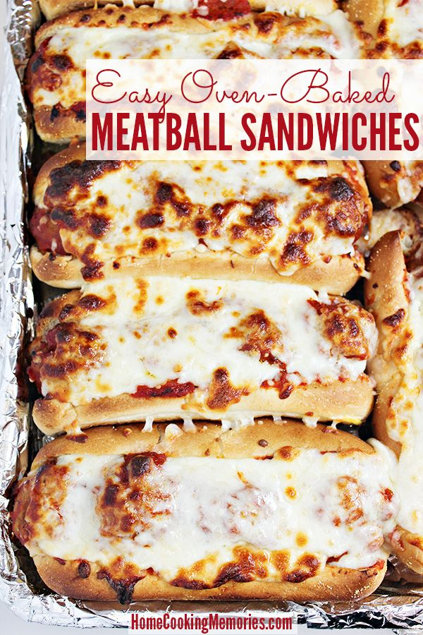 Oven Baked Meatball Sandwiches -- a super easy dinner idea for busy weeknights. You will only need meatballs, pasta sauce, mozzarella cheese, and sandwich rolls. Great meal idea for a crowd too or on-the-go meals.