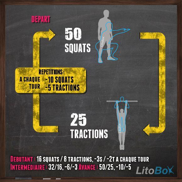 Prêt pour un WOD de CrossFit au poids du corps avec squats et tractions ?  Bon courage !  #litobox #crossfit