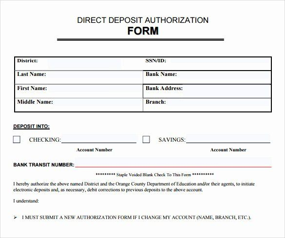 Direct Deposit Authorization Form Template Awesome 8 Direct Deposit Authorization Forms Download For Free Lesson Plan Template Free Deposit Directions