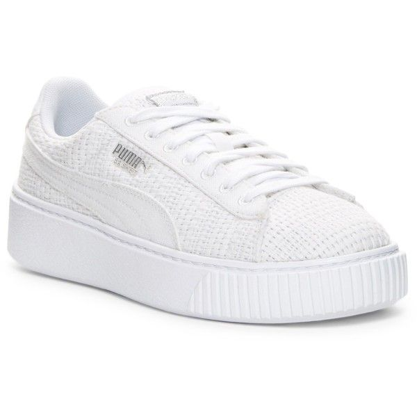 PUMA Basket Weave Platform Sneaker ($70) ❤ liked on Polyvore featuring shoes, sneakers, white, white platform sneakers, white lace up shoes, platform sneakers, platform trainers and laced up shoes