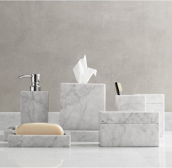 "Carrara Marble Bath Accessories from Restoration Hardware.  Tissue Cover: $129 retail and  5¼""W x 5¼""D x 5½""H"