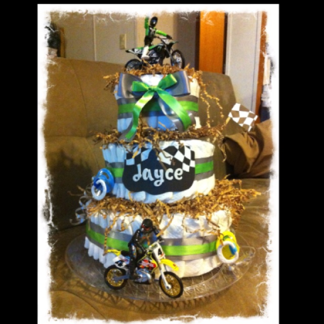 Dirt Bike Diaper Cake 4.19.12