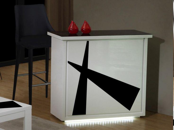 Meuble de bar PRISME - MDF laqué blanc et noir & verre - LEDs