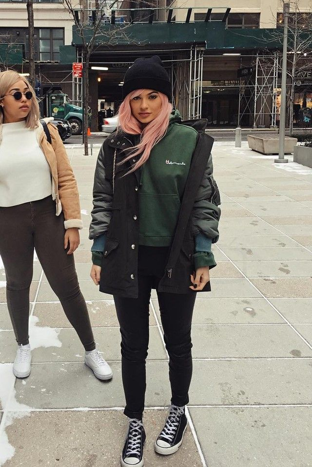 Kylie Jenner wearing  Converse Chuck Taylor All Star Canvas High Top Sneakers, Vetements Hoodie