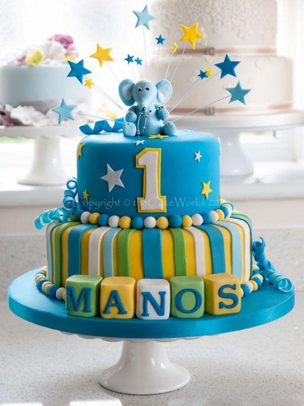 Elephant Birthday Cake Ideas Cakes Colourful Boys B Con