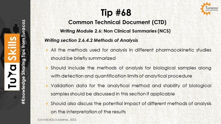 #TuraSkills shares tip for writing # 2.6.4.2 Methods of Analysis # 2.6.4 Pharmacokinetic written summary # Module 2.6 # Non Clinical Summaries # CTD Summary  #Common Technical Documents # CTD #Regulatory Writing #Medical writing
