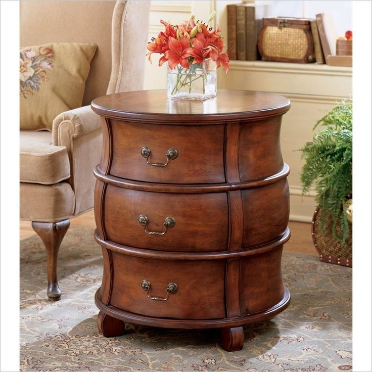 Plantation Cherry Round Wood Barrel End Table