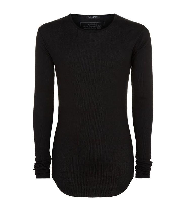 #Balmain Ribbed Raw Hem #TShirt, Black. £ 175.00 #mensfashion #malefashion #menswear http://www.harrods.com/product/ribbed-raw-hem-t-shirt/balmain/000000000005285551?cat1=new-men&cat2=new-men-tshirts#