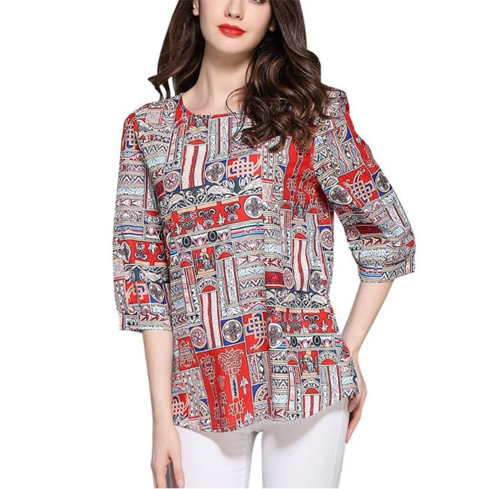 Plus-Size Fashion Printed Round Collar T-Shirt