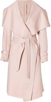 Salvatore Ferragamo Cream Pearl Cashmere and Wool Blend Coat on shopstyle.com
