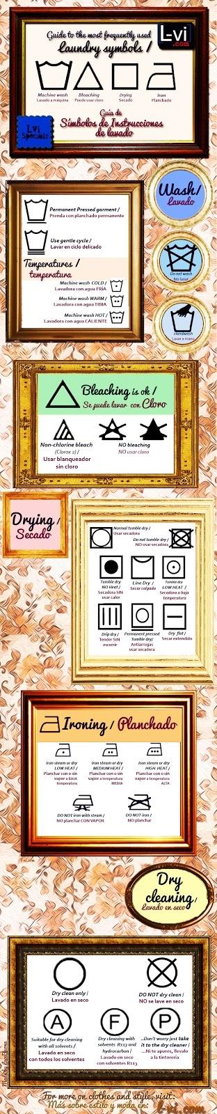 Lvi Specials: Guide to Laundy symbols Guía de Símbolos de Instrucciones de lavado.