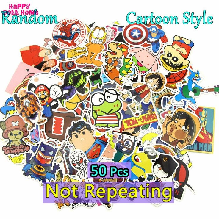 50 Pcs Cartoon Stickers Mixed Style Funny JDM Decor Toy Skateboard Fridge Car Television Laptop Motorcycle Sticker Accessories