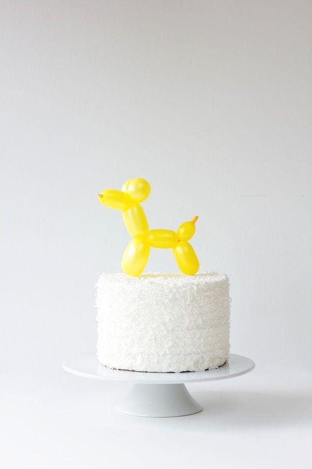 Cute birthday cake idea. How-To: Balloon Animal Cake Topper via Make