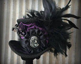 Mini Zylinder, Vampirin Royal lila Minihut, Halloween-Hut, Tag der Toten Hut, Alice im Wunderland-Hut, Mad Hatter Hut, Walking dead