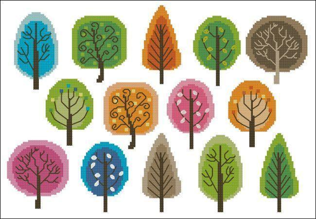 miniature cross stitch tree pattern | Retro Trees Cross Stitch by pinoystitch | Embroidery Pattern