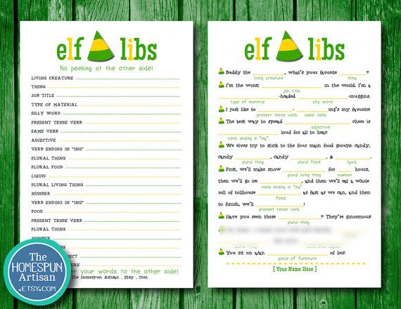 ELF Movie Mad Libs - Holiday Party Game - Christmas - Printable PDF - Elf Movie Quotes - Instant Download SALE on Etsy, $10.95