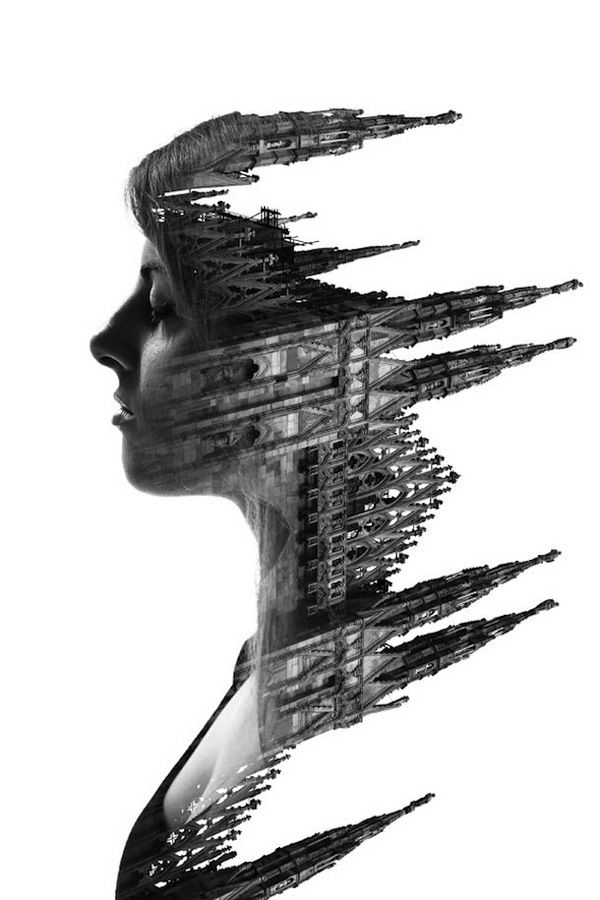 Dreamlike Double Exposure Shots That Blend People And Milan's Buildings