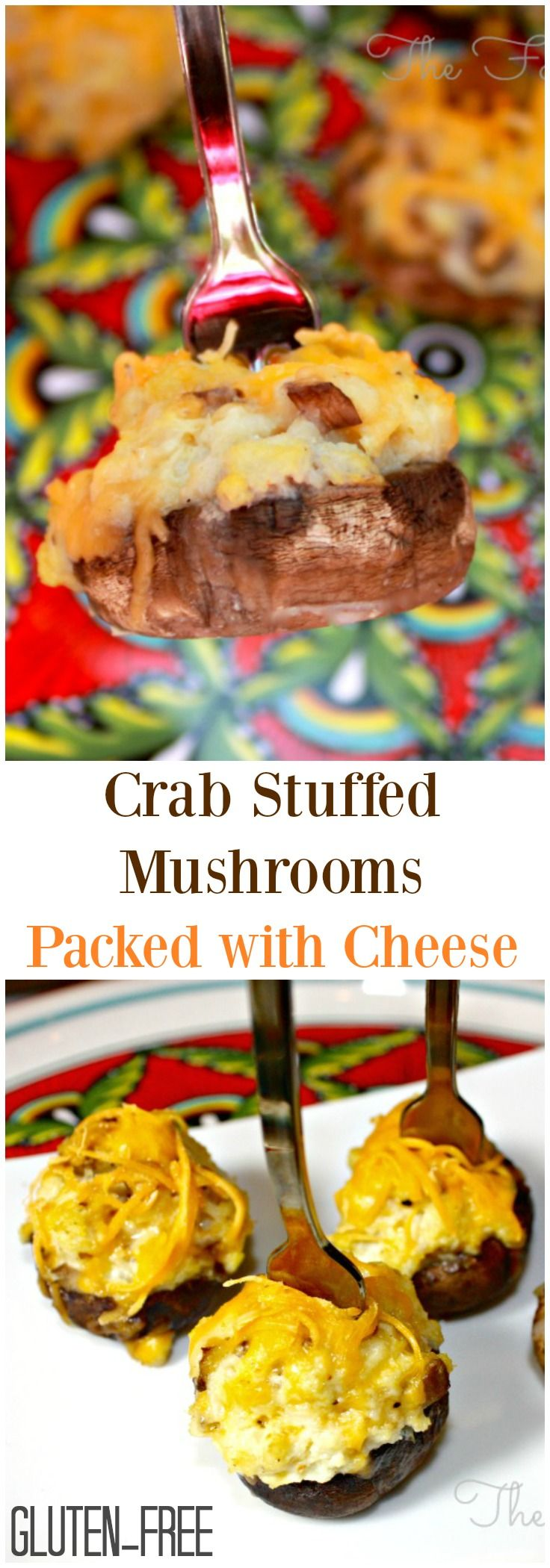 Crab stuffed mushrooms packed with cheese are delectable on their own for any occasion, but serve it with some bubbly for a festive touch! #Appetizer #Crab #Mushrooms