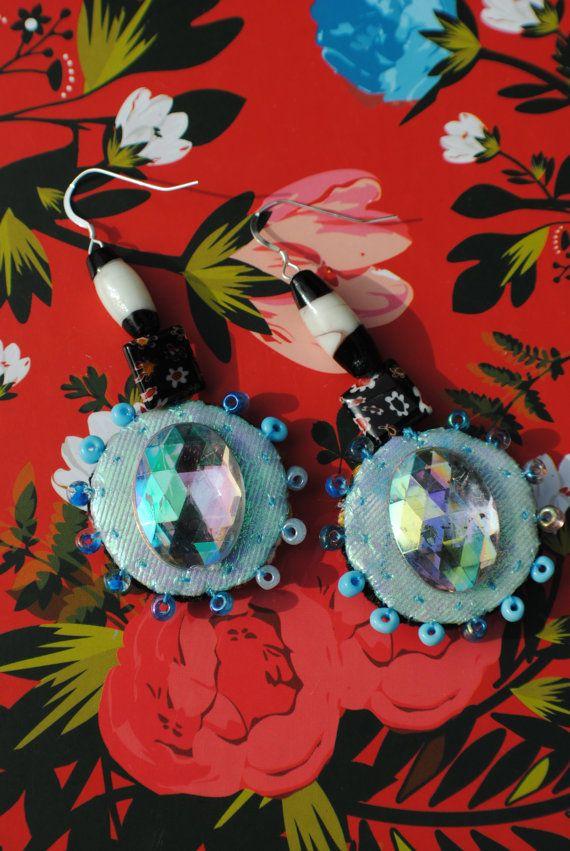 Hand Sewn Dangle Earrings in Blue with Millefiori by MrsMacBeth, £42.00  https://www.etsy.com/uk/listing/182518093/hand-sewn-dangle-earrings-in-blue-with?
