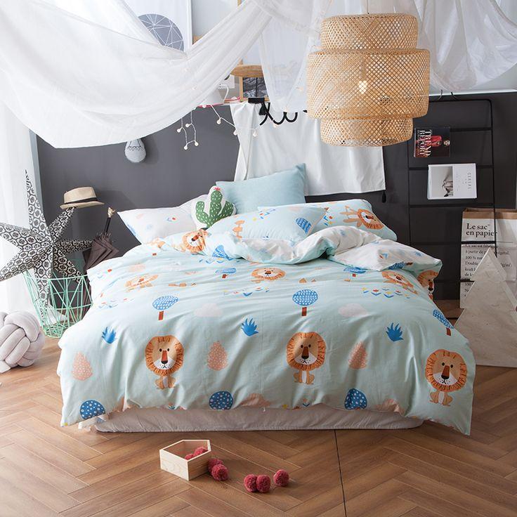 4pcs lion duvet cover quilt bed sheet pillow covers kids bedding soft cotton bedding sets queen