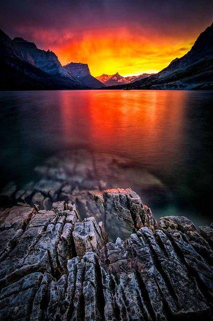 Sunset on St Mary Lake - Glacier National Park
